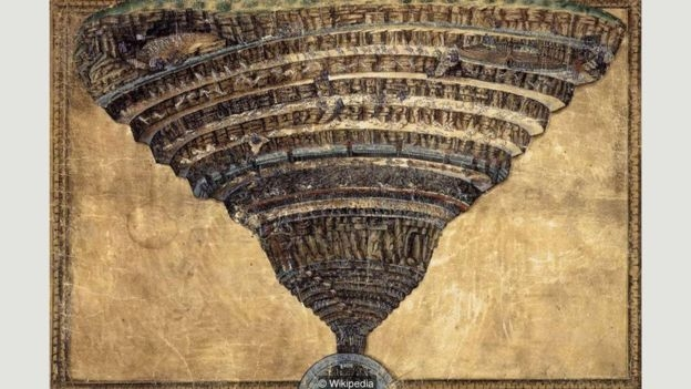 Sandro Botticelli drew The Abyss of Hell around 1485, illustrating Dante's nine circles of damnation described in the Divine Comedy