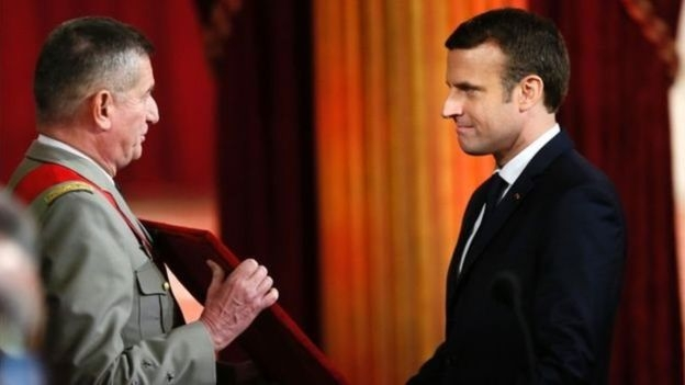 Emmanuel Macron (R) was presented with a necklace formally owned by Napoleon I