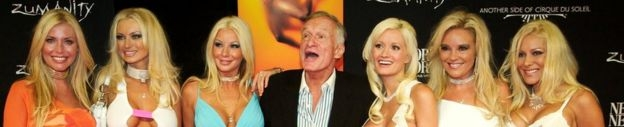 Hugh Hefner with his six girlfriends in 2003