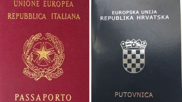 The Italian and Croatian passports