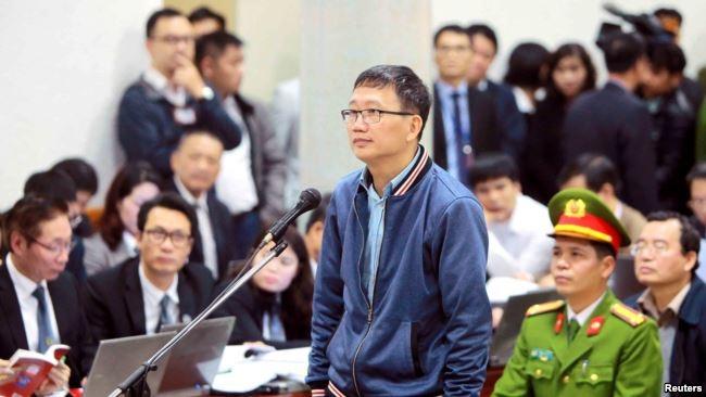 Ông Trịnh Xuân Thanh trong phiên tòa ngày 8/1/2018.