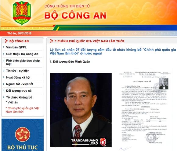 """bo ca thong bao ve to chuc khung bo """"chinh phu quoc gia vn lam thoi"""" hinh anh 2"""