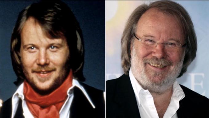 Benny Andersson thời ABBA và hiện tại.