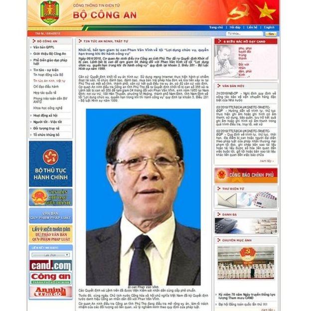Hôm 06/4/2018, Bộ Công An Việt Nam công bố bắt tạm giam bị can Phan Văn Vĩnh trong một vụ liên quan tới đánh bạc và tổ chức đánh bạc có nhiều bị can là cán bộ, sỹ quan ngành công an