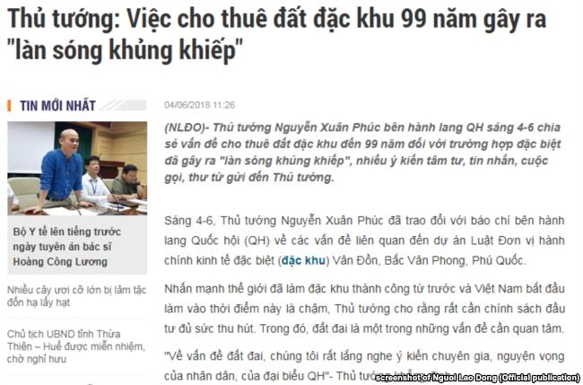 Thủ tướng Nguyễn Xuân Phúc nói ông nhận được rất nhiều bình luận, góp ý về dự luật đặc khu kinh tế