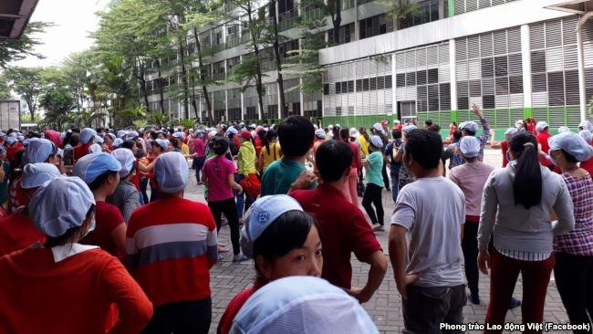Hình ảnh được nói là chụp công nhân ở Công ty Pouyuen - Tân Tạo ở TP. HCM đang đình công để phản đối dự luật đặc khu kinh tế, ngày 9 tháng 6, 2018