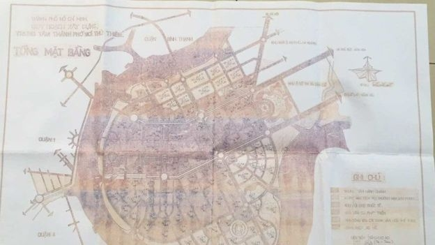 Bản chụp một tấm bản đồ mà ông Lê Văn Lung nói là bản đồ quy hoạch 1996