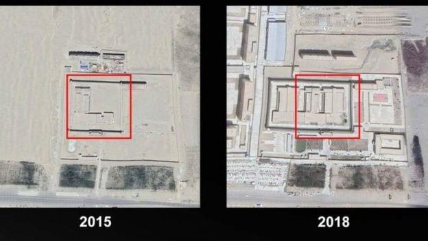 Khu vực trại tập trung trên sa mạc ở Tân Cương