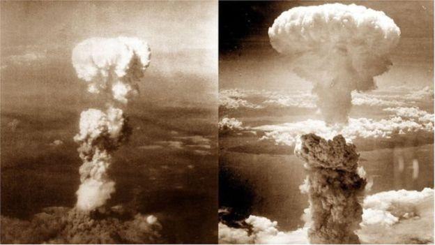 Đám mây nguyên tử hình cây nấm do bom nguyên tử thả xuống Hiroshima (trái) và Nagasaki (phải)