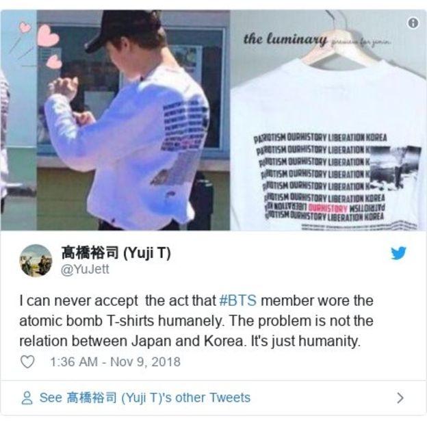 Lời phản đối trên Twitter về việc một thành viên BTS mặc chiếc áo đó